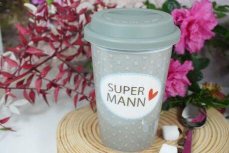 Coffee To Go Becher mit Deckel Supermann