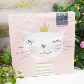 Servietten PPD Happy Birthday Cat
