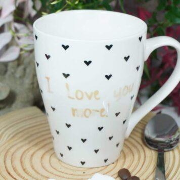 Sprüche Tasse Kaffeebecher mit Spruch I Love you more