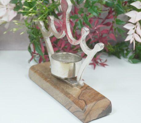 Teelichthalter Kerzenständer Alu Krone auf Holzsockel