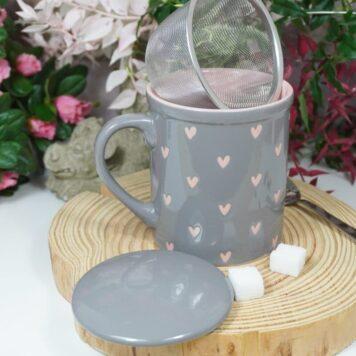 Teetasse mit Deckel und Sieb Rosa Herzies