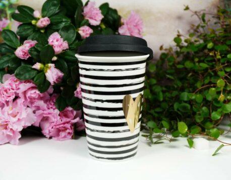 Coffee To Go Becher mit Deckel Gold Heart