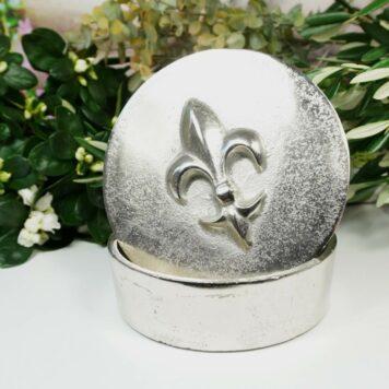 Colmore Edle Aluminium Dose Aufbewahrung Rund Fleur-de-Lis