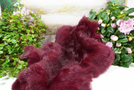 Dekofell Fellteppich Kaninchenfell gefärbt Bordeaux 42cm
