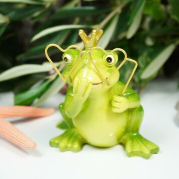 Dekofigur Froschkönig mit Brille