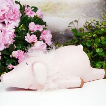 Dekofigur Schweinchen Liegend Rosa Big