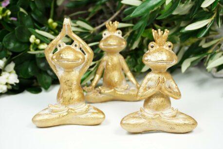 Dekofiguren Set Yogi Frösche Gold
