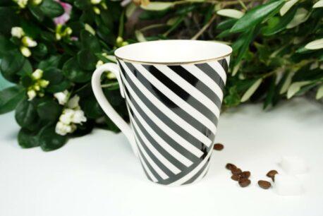 Henkelbecher Sprüche Kaffeetasse Black Abstrakt