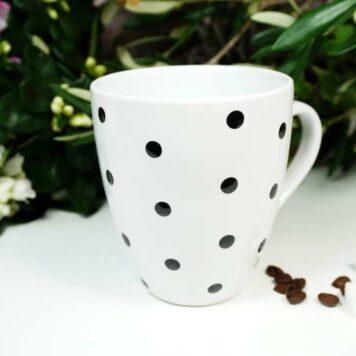 Henkelbecher Sprüche Kaffeetasse Black Pünktchen