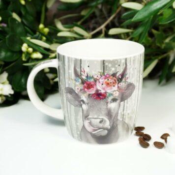 Henkelbecher Sprüche Kaffeetasse Blumen Kuh