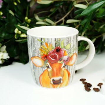 Henkelbecher Sprüche Kaffeetasse Bunte Kuh