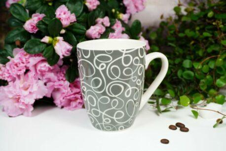Henkelbecher Sprüche Kaffeetasse Dark Grey Line