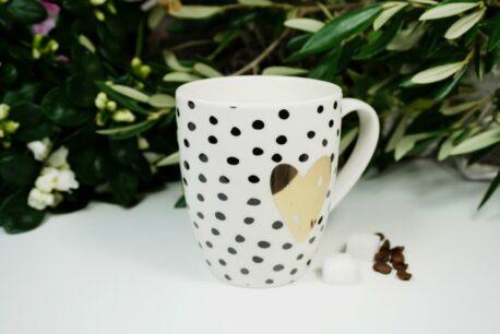 Henkelbecher Sprüche Kaffeetasse Goldherz