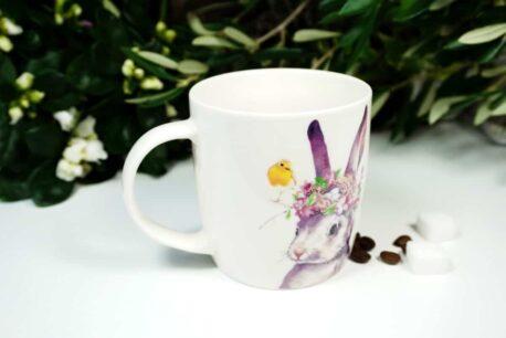 Henkelbecher Sprüche Kaffeetasse Häschen & Vögelchen