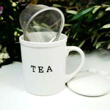 Henkelbecher Teetasse Set mit Deckel & Sieb White Tea