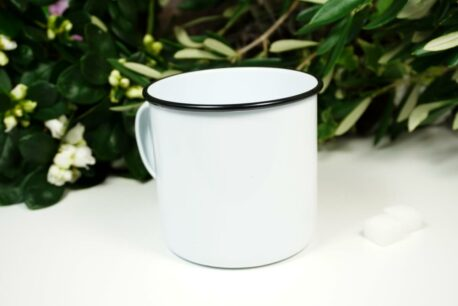 PPD Emaille Becher TEATIME Weiss