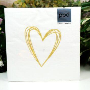 Servietten PPD Gold Heart White
