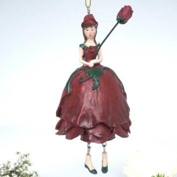 Deko Figur Blumenmädchen Rosenmädchen Rot zum Hängen