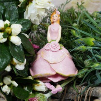 Deko Figur Dekohänger Blumenmädchen Rosa