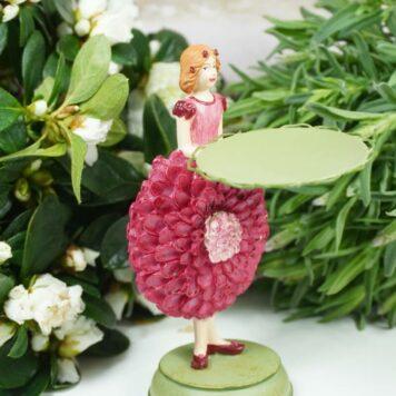 Dekofigur Teelichthalter Blumenmädchen Dahlien Fee