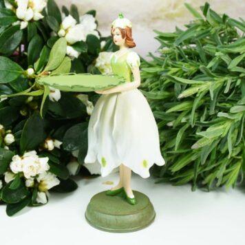 Dekofigur Teelichthalter Blumenmädchen mit Sockel