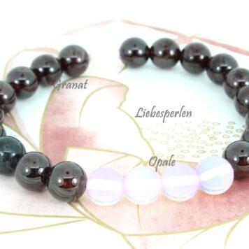 Edelsteinarmband Opal & Granat Liebesperlen
