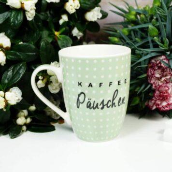 Henkelbecher Sprüche Kaffeetasse Kaffee Päuschen grün