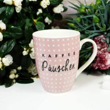 Henkelbecher Sprüche Kaffeetasse Kaffee Päuschen rosa