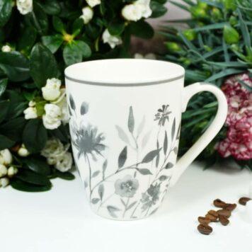 Henkelbecher Sprüche Kaffeetasse Wilde Blumen grau