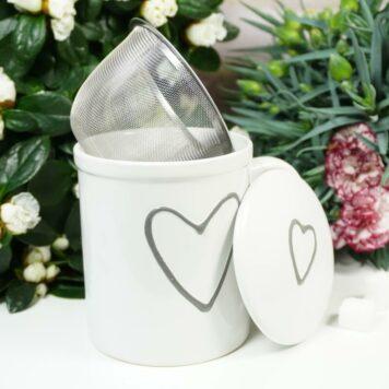 Henkelbecher Teetasse Set mit Deckel & Sieb Weiss Herz