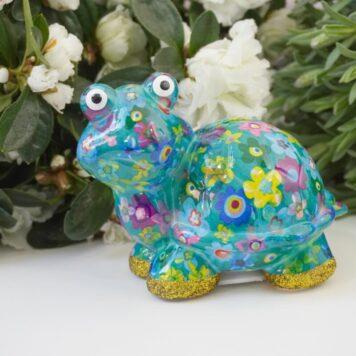 Pomme Pidou Spardose Petit Schildkröte Zeppy Green Flower