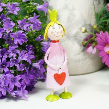Deko Figur Blechpuppe Prinzessin mit Herz Petit Rosa