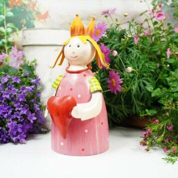 Deko Figur Dekoration Blechpuppe Kleiner König mit Herz Pink