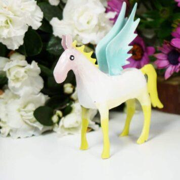 Pape Dekofigur Blech Flügelperd Pferd mit Flügel Pegasus Gelb Mint