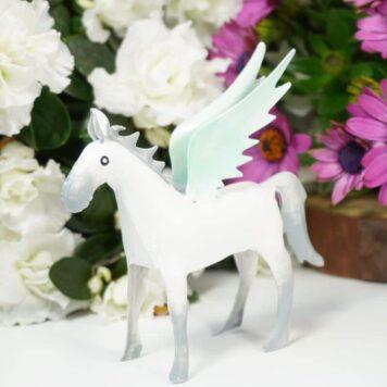 Pape Dekofigur Blech Flügelperd Pferd mit Flügel Pegasus Grau Mint