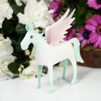 Pape Dekofigur Blech Flügelperd Pferd mit Flügel Pegasus Rosa Mint