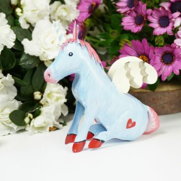 Pape Einhorn Dekofigur Blech Figur Unicorn Fantasy Bleu