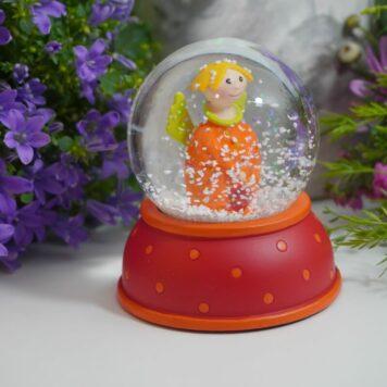 Pape Schneekugel Glimmerkugel Schutzengel Orange Angel with Red Base & Orange Dot