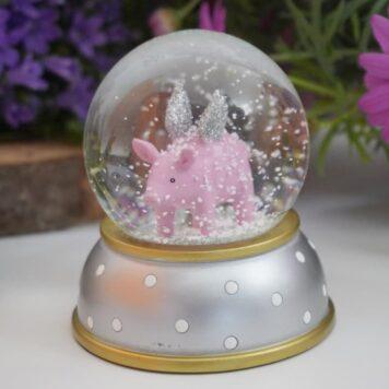 Pape Schneekugel Glimmerkugel Schutzengel Schweinchen Silber gold weiss