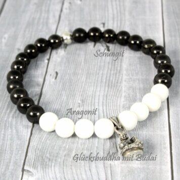 Yoga Armband Herzens-Blick mit Aragonit & Schungit Edelsteinen mit Buddha Glücksanhänger 925er Silber
