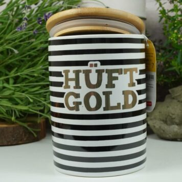 Vorratsdose Keramikdose 1 L Hüftgold Gestreift