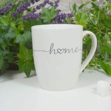 Wurm Henkelbecher Sprüche Tasse Home Weiss