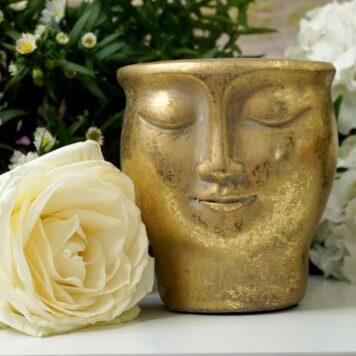 Blumentopf Übertopf Gesicht Lächelnd Goldfarben Petit