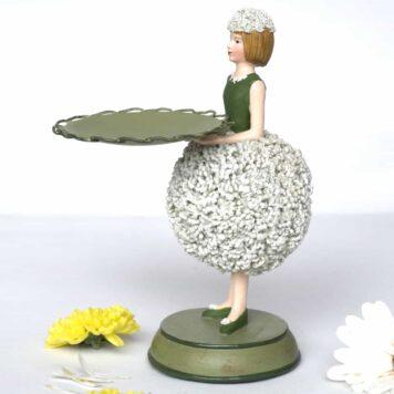 Dekofigur Teelichthalter Kerzenhalter Blumenmädchen Alliummädchen weiss
