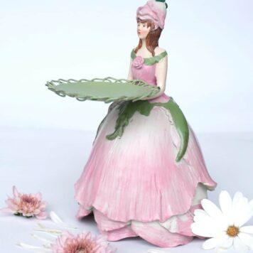 Dekofigur Teelichthalter Kerzenhalter Blumenmädchen Rosenmädchen Rosa
