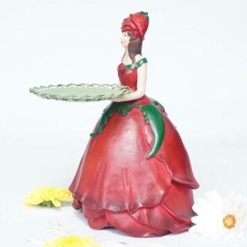 Dekofigur Teelichthalter Kerzenhalter Blumenmädchen Rosenmädchen