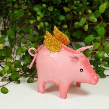 Pape Deko Figur Blech Schutzengel Schwein Gold