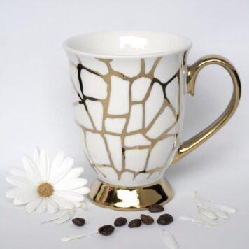Werner Voß Henkelbecher Kaffeebecher Porzellan Becher Gold Mosaik
