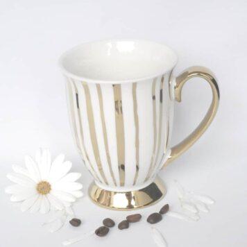 Werner Voß Henkelbecher Kaffeebecher Porzellan Becher Gold Stripes