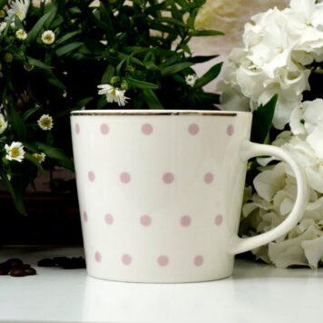 Werner Voß Henkelbecher Kaffeebecher Porzellan Becher Rosa Punkte